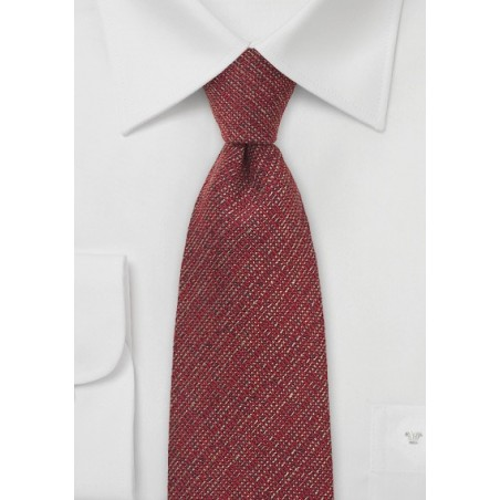 Deep Red Barleycorn Wool Necktie