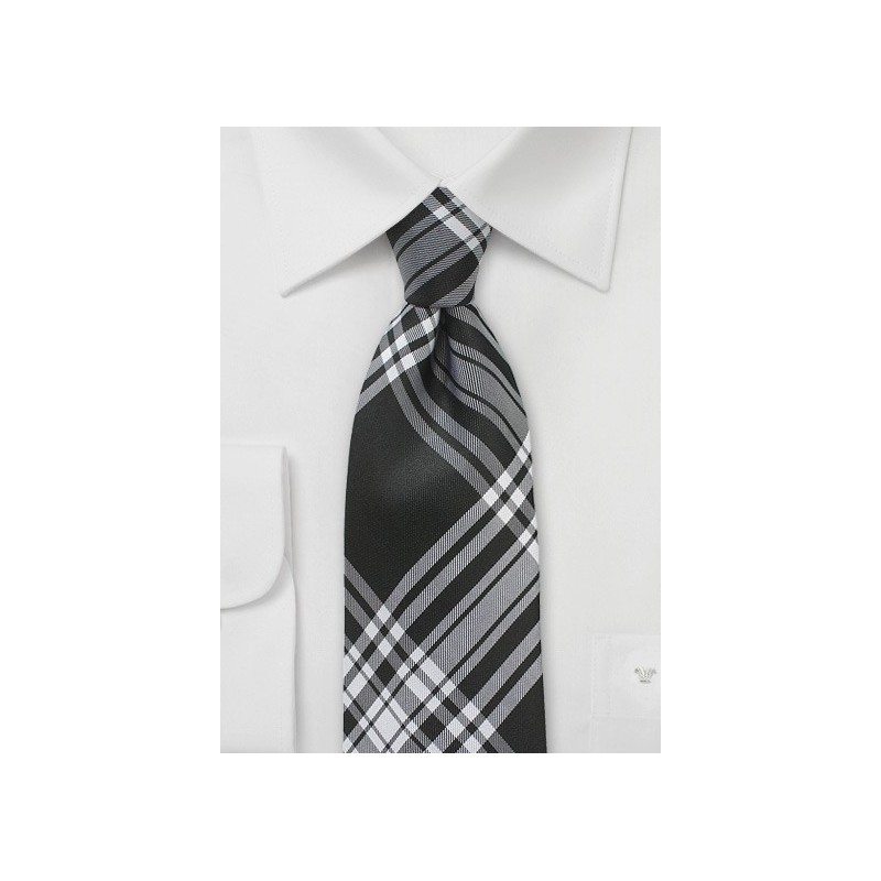 Black and White Plaid Necktie