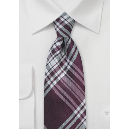 Burgundy Silk Tie with Large Scale Plaid Design