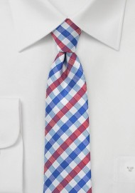 Skinny Gingham Tie in Red, White, Blue