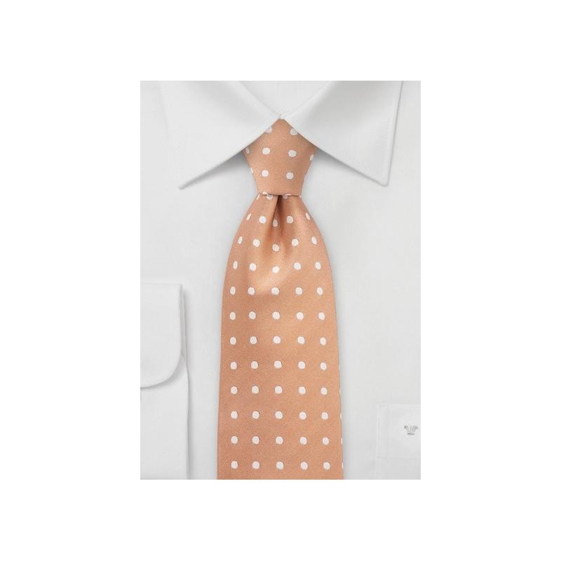Summer Peach Polka Dot Necktie