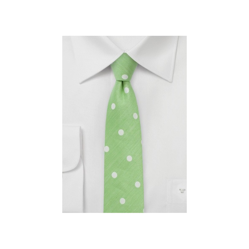 Lime Green Skinny Tie with Large Scale Polka Dots