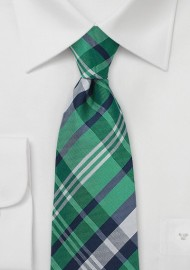Scottish Tartan Plaid Tie in Green and Navy