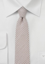 Summer Houndstooth Slim Tie In Tans
