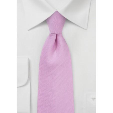 Herringbone Necktie in Classic Pink