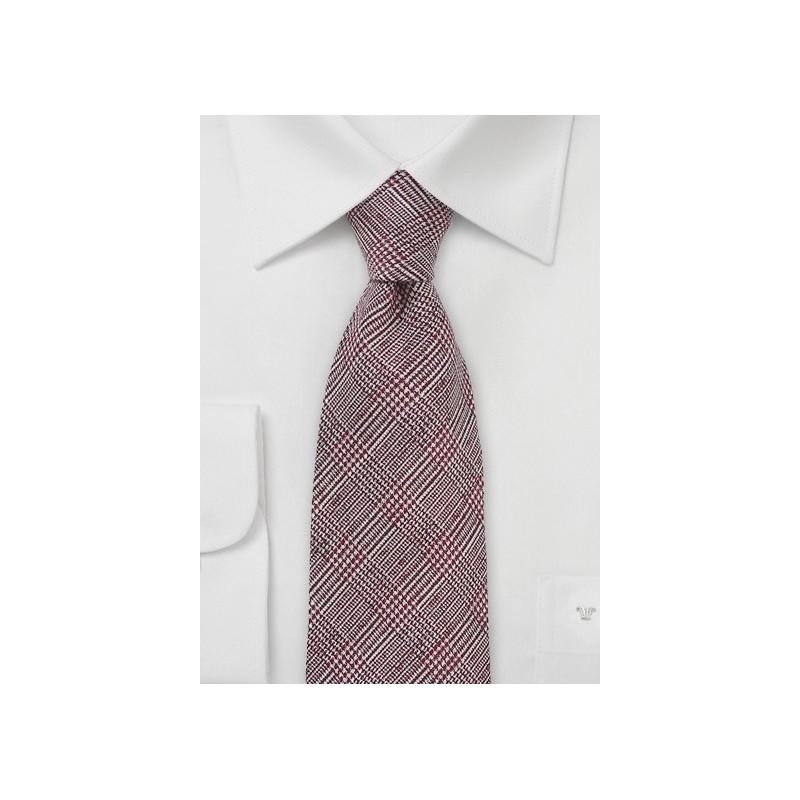 Autumn Glen Check Wool Tie in Burgundy