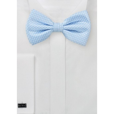 Baby Blue Bow Tie with White Pin Dots