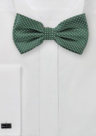 Dark Green Pin Dot Bow Tie