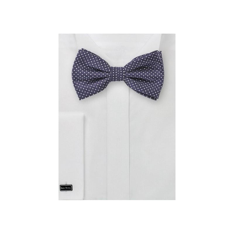 Pin Dot Bow Tie in Dark Eggplant Purple