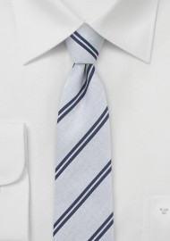 Skinny Cotton Tie in Navy and Silver