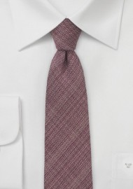 Chambray Skinny Tie in Deep Burgundy