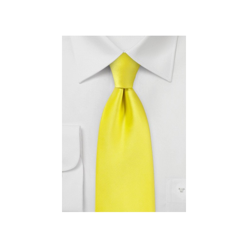 Canary Yellow Necktie in Extra Long Size