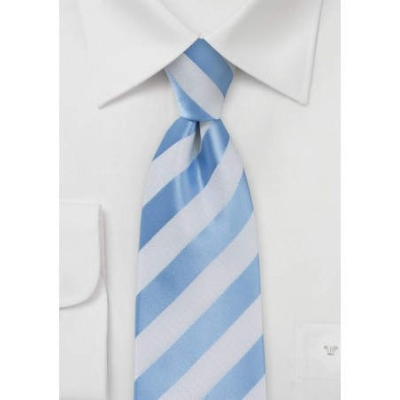 Baby Blue and White Extra Long Necktie