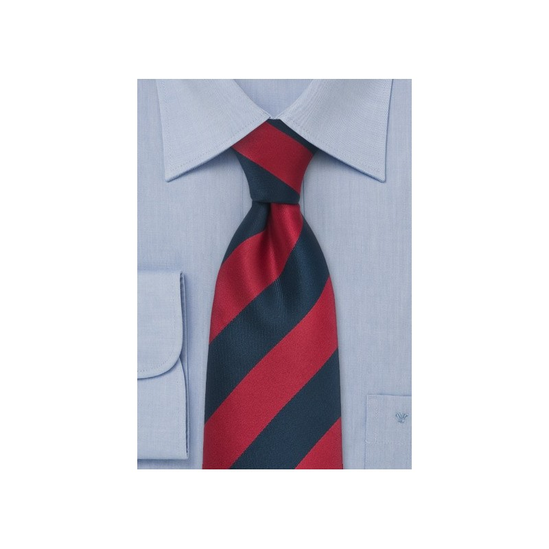 Navy and Red Necktie in Long Length for Tall Men