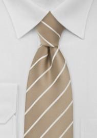 Beige Striped Extra Long Necktie