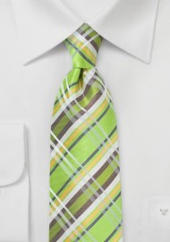 Summer Plaid Silk Tie in Lime Green