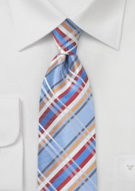 Plaid Silk Tie in Light Blue and Orange