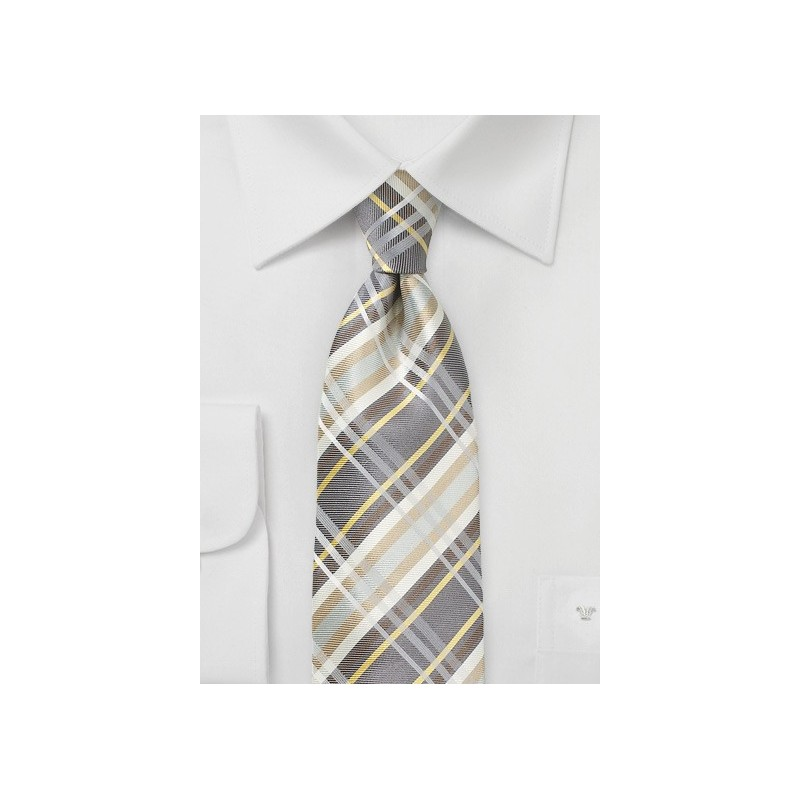 Wheat Colored Silk Plaid Tie