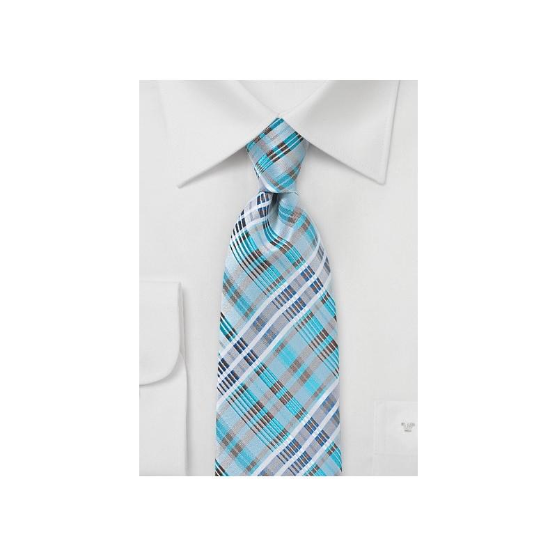 Modern Plaid Tie in Bright Aqua and Silver