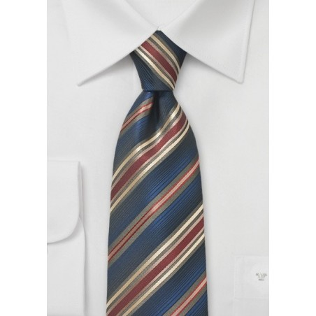 Striped Tie in Navy, Burgundy and Gold