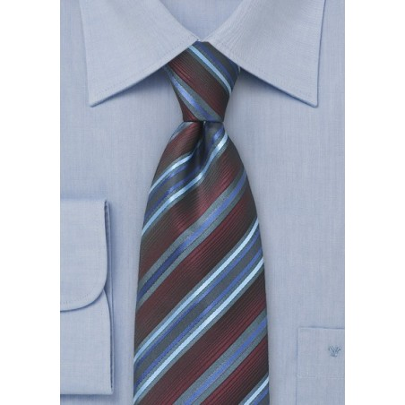 Burgundy Color Tie with Gray and Blue Stripes