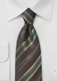 Espresso Brown and Gold Striped Tie