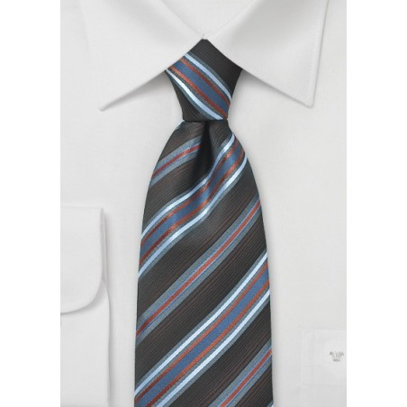 Espresso Brown Tie with Light Blue Stripes