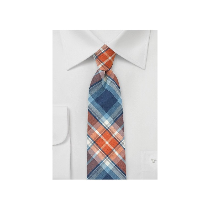 Tangerine and Blue Cotton Plaid Tie