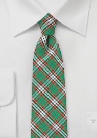 Green and Red Tartan Plaid Cotton Necktie