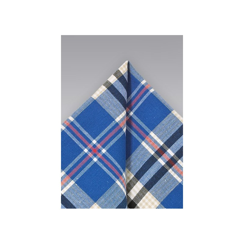 Cotton Plaid Pocket Square in Blue, Beige, and Black