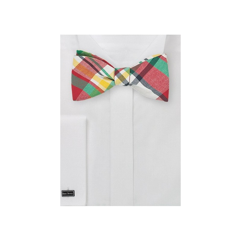 Summer Madras Bow Tie in Self Tie Style