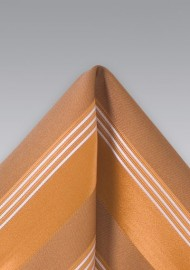 Burnt Orange Striped Pocket Square