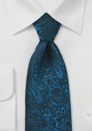 Dark Teal Paisley Silk Tie in Long Length