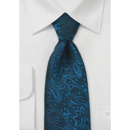 Dark Teal Paisley Silk Tie in Long Length