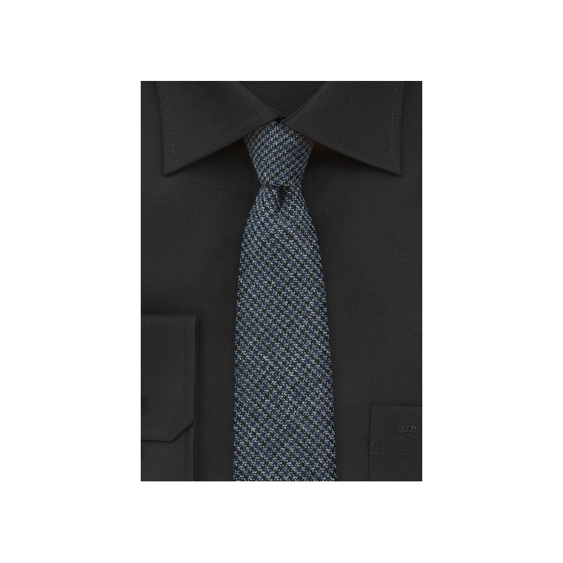 Midnight Blue Tweed Skinny Tie