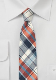 Cotton Madras Tie in Cream, Red, and Blue