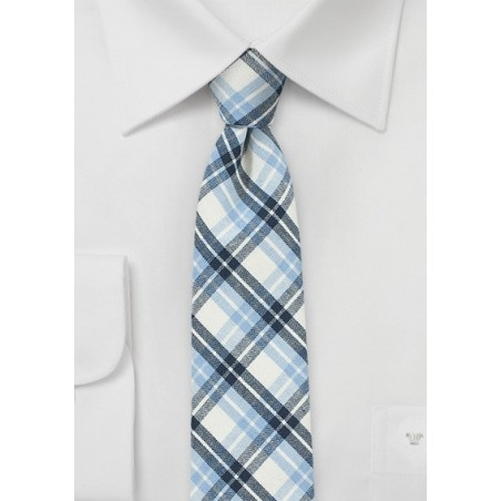 Blue Summer Plaid Tie in Pure Cotton