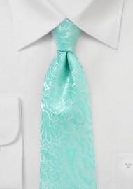 Glacier Blue Necktie with Paisley Print