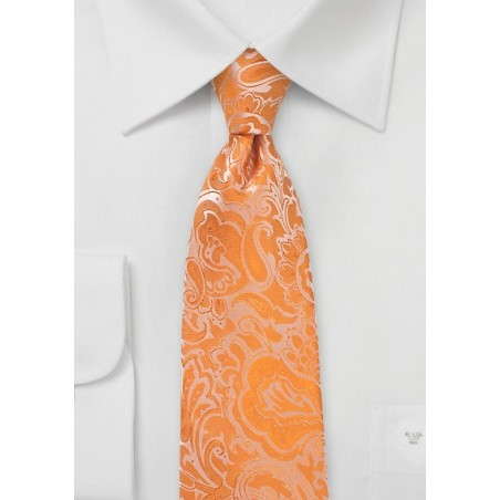 Tangelo Orange Paisley Tie
