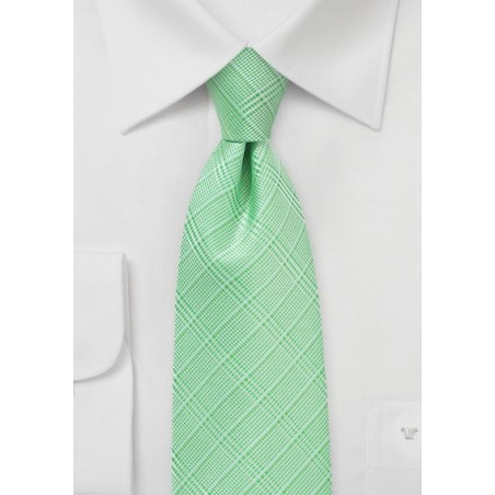 Pastel Green Plaid Necktie