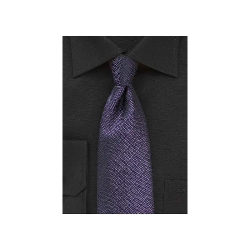 Plaid Necktie in Sweet Grape Color