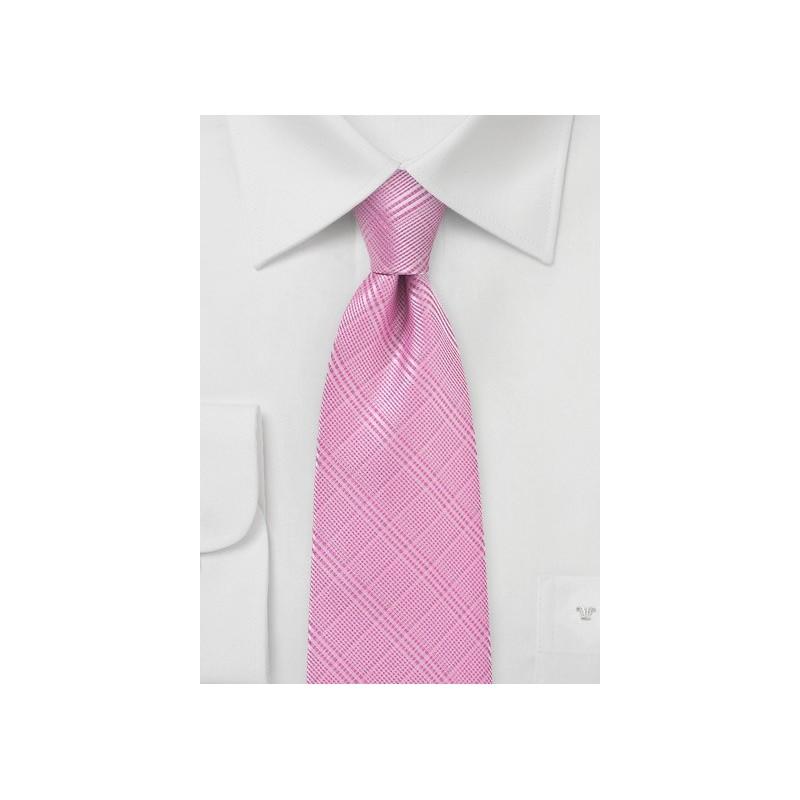 Bright Pink Necktie with Trendy Check Pattern