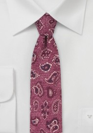 Wool Paisley Tie in Wine Red