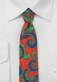 Bold Wool Paisley Tie in Orange, Lime, and Blue
