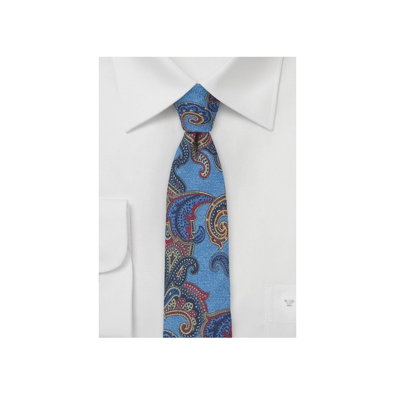 Bold Paisley Print Wool Tie in Blue