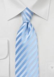 Solid Striped Kids Tie in Capri Blue
