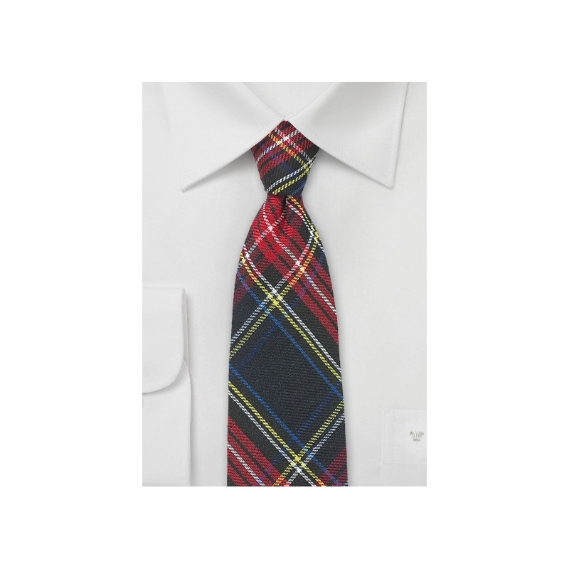 Flannel Plaid Skinny Tie in Black, Red, Yellow, Navy