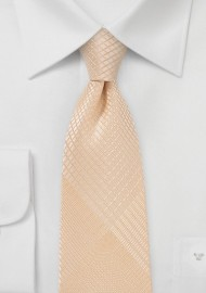 Men's Necktie with fine Check Pattern in Peach Parfait