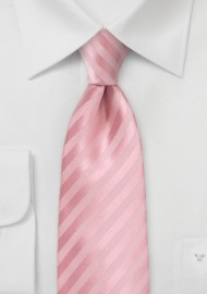 Extra Long Striped Tie in Peony Pink