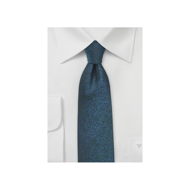 Royal Blue and Black Narrow Silk Tie